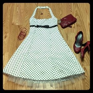 Black and white polka-dot halter dress